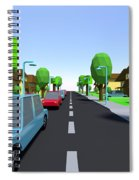 Cars Driving Suburban Streets   Spiral Notebook