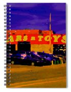 Cars R Toys Evening Rue St.jacques Used Cars Trucks Suvs Montreal Urban Scene Carole Spandau Spiral Notebook