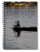 Cartoon - Kashmiri Man Rowing A Small Wooden Boat In The Waters Of The Dal Lake Spiral Notebook