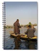 Cartoon - Kashmiri Men Plying A Wooden Boat In The Dal Lake In Srinagar Spiral Notebook