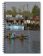 Cartoon - Ladies On 2 Wooden Boats On The Dal Lake With The Background Of Houseboats Spiral Notebook