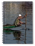 Cartoon - Man Plying A Wooden Boat On The Dal Lake Spiral Notebook