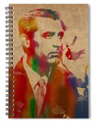 Cary Grant Watercolor Portrait On Worn Parchment Spiral Notebook