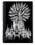 Castle With Fireworks In Black And White Walt Disney World Spiral Notebook