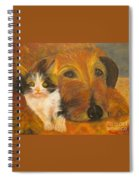 Cat And Dog Original Oil Painting  Spiral Notebook
