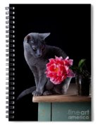 Cat And Tulip Spiral Notebook
