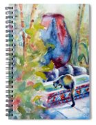 Cat Drinking Fountain Spiral Notebook