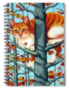 Orange Cat In Tree Autumn Fall Colors Spiral Notebook