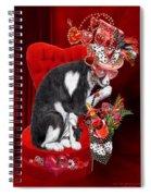 Cat In The Valentine Steam Punk Hat Spiral Notebook