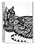 Cat With Design Spiral Notebook