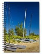 Catamaran Sailboats On The Beach At Muskegon No. 601 Spiral Notebook