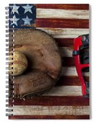 Catchers Glove On American Flag Spiral Notebook