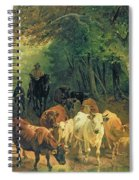 Cattle Watering In A Wooded Landscape Spiral Notebook