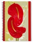 Celebration - Red Anthurium And White Orchids  Spiral Notebook