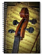 Cello Scroll With Sheet Music Spiral Notebook