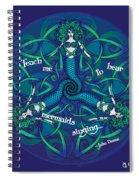 Celtic Mermaid Mandala In Blue And Green Spiral Notebook