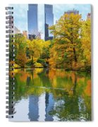 Central Park Pond Autumn Reflections Spiral Notebook
