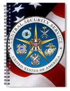 Central Security Service - C S S Emblem Over American Flag Spiral Notebook