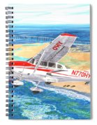 Cessna 206 Flying Over The Outer Banks Spiral Notebook