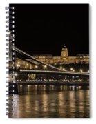 Chain Bridge And Buda Castle Winter Night Spiral Notebook