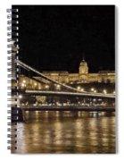 Chain Bridge And Buda Castle Winter Night Painterly Spiral Notebook