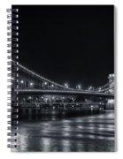 Chain Bridge Night Bw Spiral Notebook