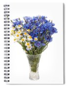 White Camomile And Blue Cornflower In Glass Vase  Spiral Notebook