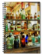 Chemistry - Bottles Of Chemicals Green And Brown Spiral Notebook
