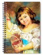 Cherry Basket Girl Spiral Notebook