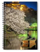 Cherry Blossom Temple Boat Spiral Notebook
