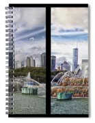 Chicago Buckingham Fountain 2 Panel Looking West And North Black Spiral Notebook