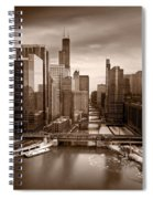 Chicago City View Afternoon B And W Spiral Notebook