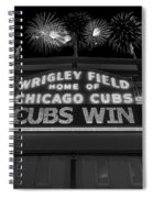 Chicago Cubs Win Fireworks Night B W Spiral Notebook