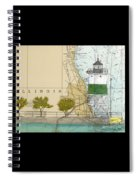 Chicago Harbor Se Guidewall Lighthouse Il Nautical Chart Art Spiral Notebook