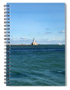 Chicago Illinois Harbor Lighthouse And Little Lady Tour Boat Usa Spiral Notebook
