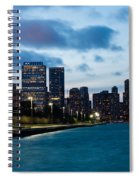 Chicago Lake Front At Blue Hour Spiral Notebook