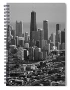 Chicago Looking East 01 Black And White Spiral Notebook