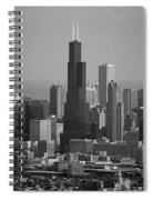 Chicago Looking East 02 Black And White Spiral Notebook