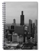 Chicago Looking West 01 Black And White Spiral Notebook