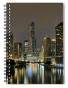 Chicago Night River View Spiral Notebook