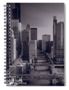 Chicago River Bridges South Bw Spiral Notebook