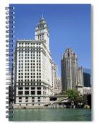 Chicago River Walk Wrigley And Tribune Spiral Notebook