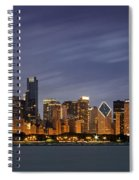 Chicago Skyline At Night Color Panoramic Spiral Notebook