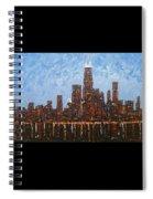 Chicago Skyline At Night From North Avenue Pier Spiral Notebook