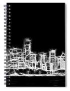 Chicago Skyline Fractal Black And White Spiral Notebook