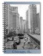Chicago Triptych 3 Panel Black And White Spiral Notebook