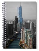 Chicago Trump Tower Blue Selective Coloring Spiral Notebook