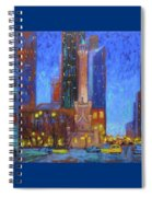 Chicago Water Tower At Night Spiral Notebook