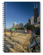 Chicago's Lakefront Bike Path On A Summer Evening Spiral Notebook