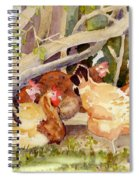 Chickens In The Hedge II Spiral Notebook